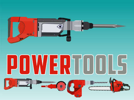 Vector illustration with electric drill hammer and Different Power Tools