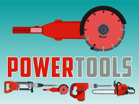 Vector illustration with grinder circle saw and Different Power Tools