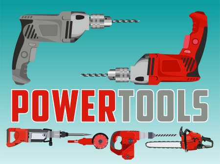 Vector illustration with drill and Different Power Tools