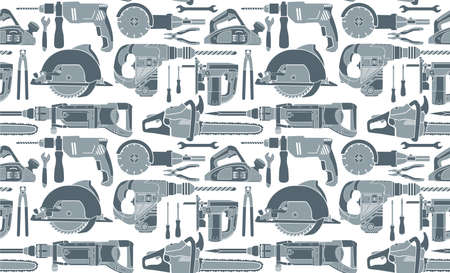 vector seamless background with flat handtools and power tools