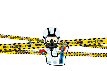 Under Construction Concept with medical scientist in hazmat suits cleaning and disinfecting   epidemic  Flat design vector illustration