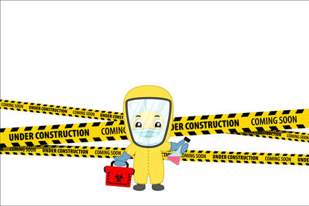Under Construction Concept with doctor in virus protection suit with laboratory tub. Flat design vector illustration Ilustração