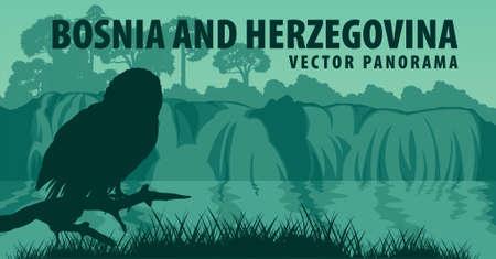 vector panorama of Bosnia and Herzegovina with Ural Owl near Waterfall Kravice