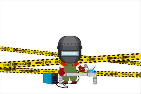 Under Construction Concept with metal cutter with welding torch. Flat design vector illustration