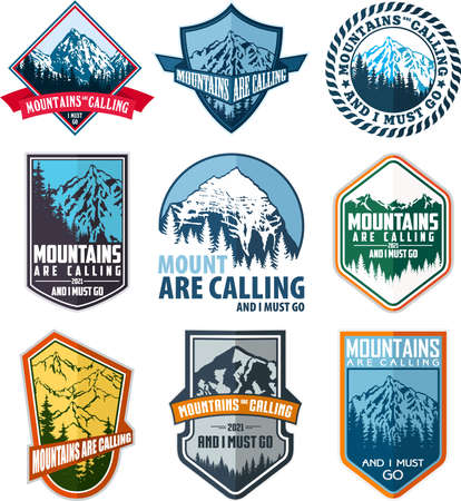 Vector set of nine mountain travel emblems. Camping climbing outdoor adventure emblems, badges and logo. Mountain tourism, hiking, mountaineering labels.