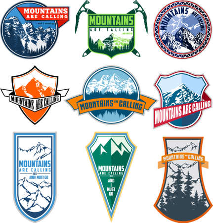 Vector set of nine mountain travel emblems. Camping climbing outdoor adventure emblems, badges. Mountain tourism, hiking, mountaineering labels.