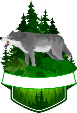 vector woodland emblem with gray wolf 向量圖像