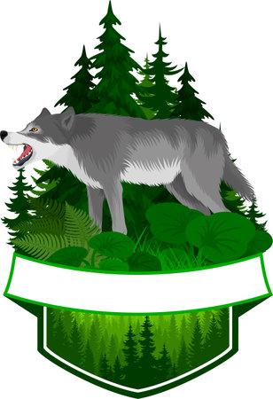 vector woodland emblem with gray wolf Ilustração