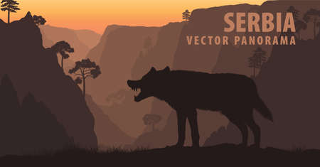 vector panorama of Serbia with gray wolf in Lazar's Canyon 向量圖像
