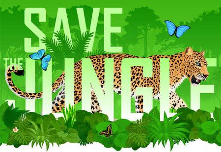 Vector seamless horizontal tropical rainforest Jungle background with jaguar and blue morpho butterfly Ilustração