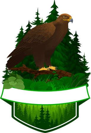 vector woodland emblem with golden eagle