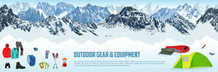 vector seamless outdoor gear store illustration with type design and clothing and equipment