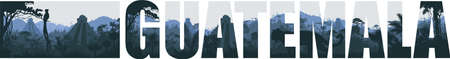 Vector panorama of Guatemala with Tikal pyramid, jaguar and quetzal in Jungle Rainforest 向量圖像