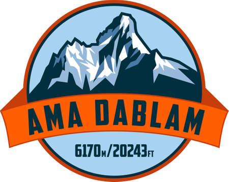 vector Ama Dablam mountain logo label