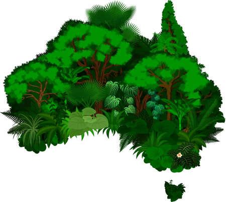 floral Australia map - vector illustration