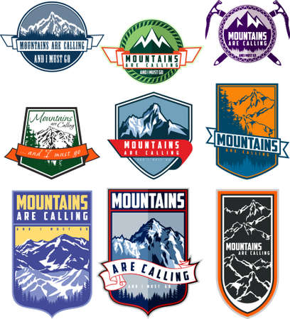 Vector set of nine mountain travel emblems. Camping climbing outdoor adventure emblems, badges . Mountain tourism, hiking, mountaineering labels.