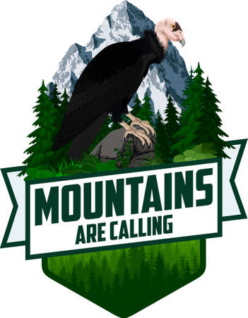 The Mountains Are Calling. vector Outdoor Adventure Inspiring Motivation Emblem logo illustration with