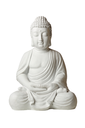 Statue of Buddha in lotus position, front view, isolated on white background
