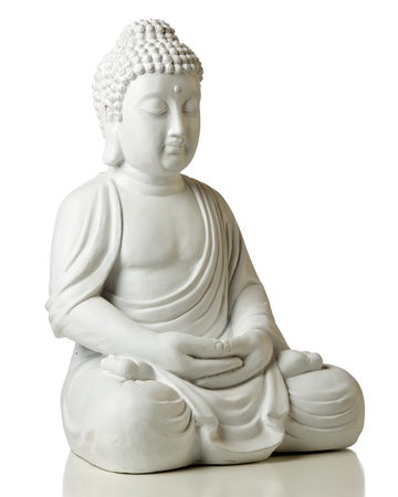 Statue of Buddha in lotus position, 2 3 view, isolated on white background 版權商用圖片