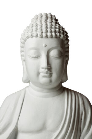budda: Statue of Buddha in lotus position, front view, isolated on white background