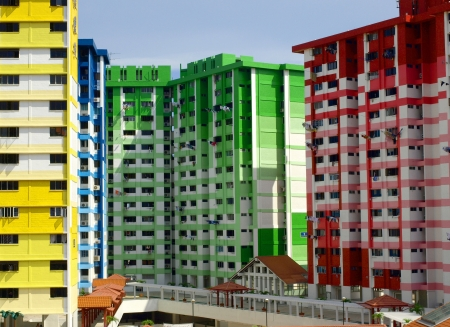 hdb: Brightly coloured public housing Stock Photo