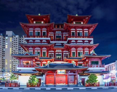 singapore: Chinatown temple at night, Singapore, October 2008