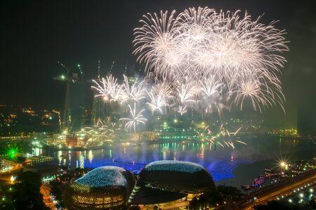 marina bay: Fireworks over Marina Bay