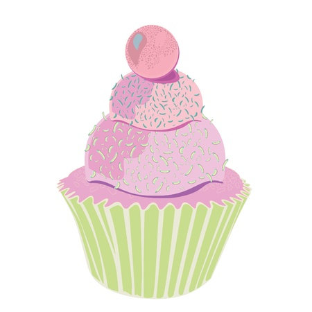Pink layered funky cupcake Stock Vector - 19547691