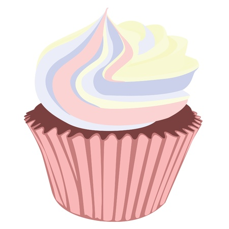 yellow pastel cream cupcake Stock Vector - 19547686