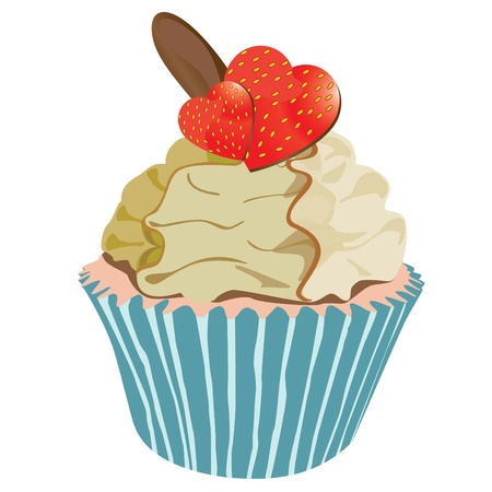 Strawberry cupcake with hearts vector Vector