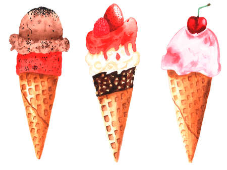 Set of watercolor set ice cream in a cone with berries 스톡 콘텐츠