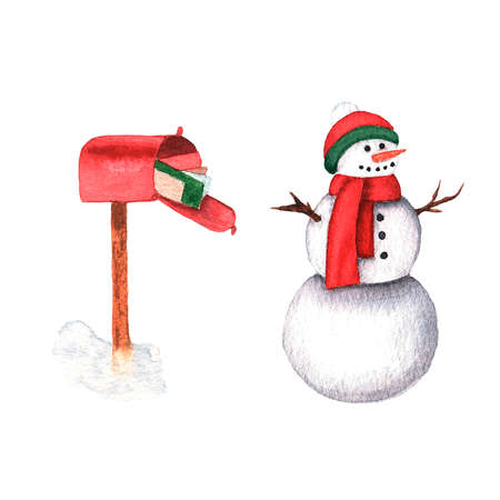 Cute snowman and mailbox. Hand drawn watercolor illustration on on white background.
