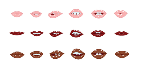 Illustration of sexy doodle womans lips expressing different emotions. Smile, kiss, half-open mouth, biting lip. Isolated on white background.