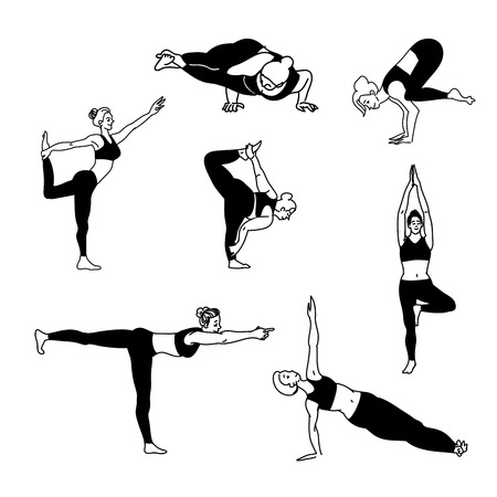 Bundle of female cartoon character demonstrating various balans standing yoga positions isolated on white background. Black and white flat vector illustration for clothes, fashion, cards, wrappaper