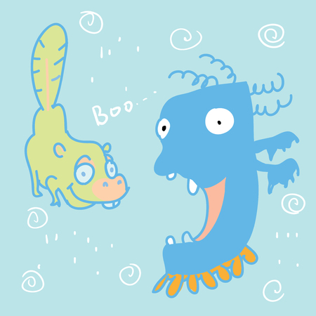 Funny cartoon monsters illustration. Hand drawn vector doodle design for girls, boys, kids.
