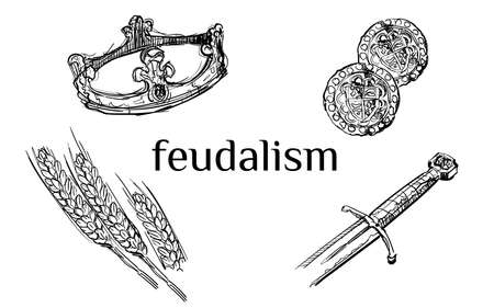 Feudalism icon set collection crown sword coin wheat hand drawn sketches white isolated background vector design illustration