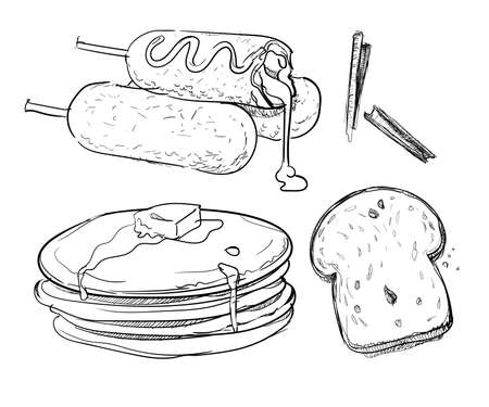 Corndog bread slice pancake honey hand drawn sketches white isolated background with vector design illustration
