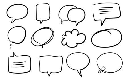 Bubble chat set collection comic cartoon empty template with flat style vector design illustration