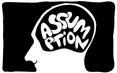 Assumption text in head black and white hand drawing pictogram