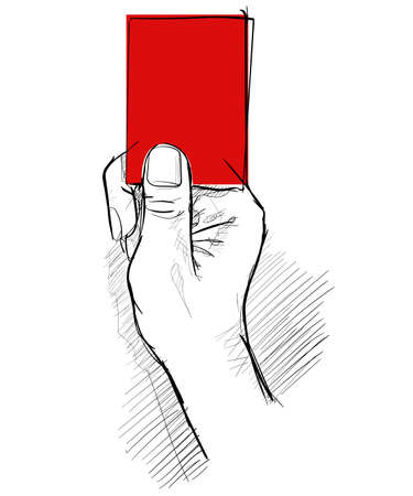 Penalize hand showing red card hand drawing sketch white isolated background
