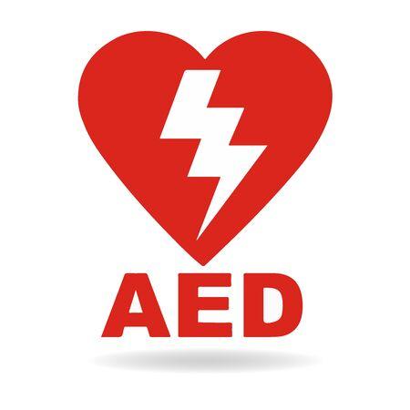 AED Defibrillatore di emergenza Icone icona AED Logo medico cpr Vector eps simbolo posizione automatizzato esterno Segni medici Defibrillatore esterno automatizzato rosso Logo