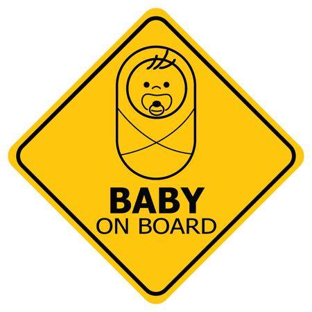Baby on board yellow square warning sign on white background. Car sticker back window or sign. Vector illustration. Ilustração