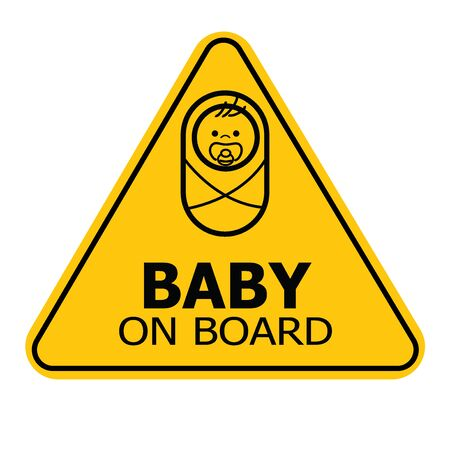 Baby on board yellow triangle warning sign on white background. Car sticker back window or sign. Vector illustration. Ilustração