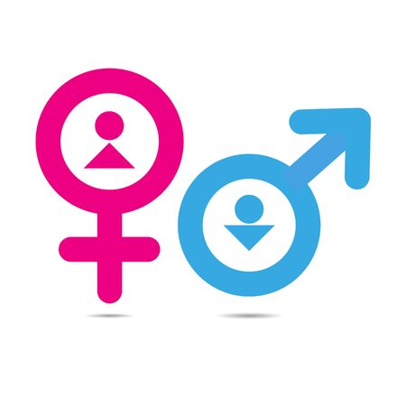 Vector gender symbols with heads of man and woman sex icon pink and blue Illustration