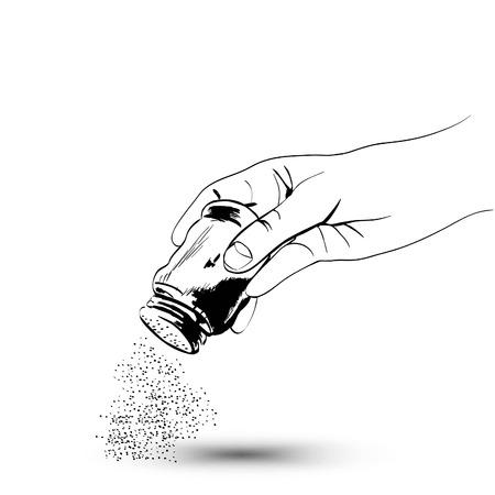 Hand met shaker zout Stock Illustratie Vector Illustratie