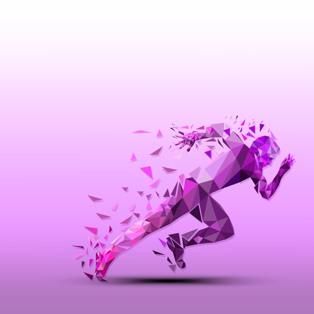 Abstract vector runner. Geometric silhouette