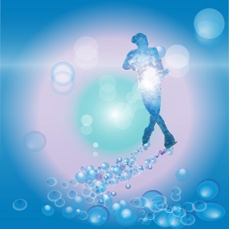 Vrouw schaatser schaatsen met bubbels