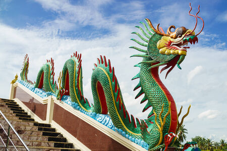angthong: Dragon sculpture on the staircase rail of Wat Muang (Public temple), Angthong, Thailand
