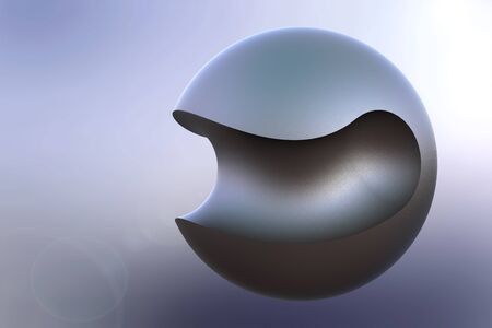metal ball: Beautiful abstract illustration of curved-cut metal ball