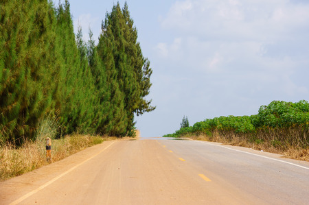 humid: The oasis effect occurs on the road in a very hot and humid day.